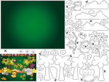 Games. Jungle illustration for children to color and cut and paste Royalty Free Stock Images