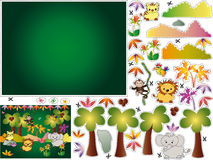 Games. Jungle illustration for children to cut and paste Stock Photo