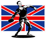 Games 2012 Discus Throw British Flag. Illustration of an athlete Discus Throw with Union Jack British UK Flag done in retro style stock illustration