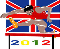 Games 2012 Track and Field Hurdles British Flag. Illustration of an athlete jumping hurdles with words Games 2012 and Union Jack British UK Flag done in retro royalty free illustration