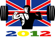 Games 2012 Weightlifting Retro British Flag. Illustration of an athlete weightlifter lifting weights with words Summer Games 2012 and Union Jack British UK Flag Royalty Free Stock Images
