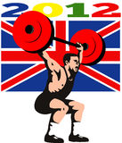 Games 2012 Weightlifting Retro British Flag. Illustration of an athlete weightlifter lifting weights with words Summer Games 2012 and Union Jack British UK Flag royalty free illustration