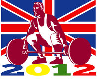 Games 2012 Weightlifting Retro British Flag. Illustration of an athlete weightlifter lifting weights with words Summer Games 2012 and Union Jack British UK Flag Stock Photography