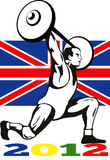 Games 2012 Weightlifting Retro British Flag. Illustration of an athlete weightlifter lifting weights with words Summer Games 2012 and Union Jack British UK Flag stock illustration