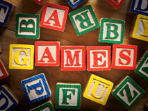 Games. Word with toy blocks Royalty Free Stock Photo