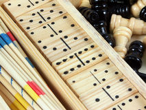 Games. Spillikins, dominoes and chess Royalty Free Stock Photo