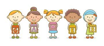 Games alphabet block. Doodle illustration: Alphabet block spelling Games Stock Images