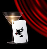 Games card, glass and red drape Royalty Free Stock Photo