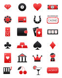 Games of chance black-red  icons set. Set of 24 games of chance black-red  icons Stock Image