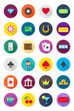Games of chance round  icons set. Set of 24 games of chance round  icons Stock Photography