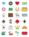 Games of chance variegated vector icons set. Set of 24 games of chance variegated vector icons Royalty Free Stock Images