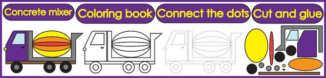 Games for children 3 in 1. Coloring book, connect the dots, cut. And glue. Concrete mixer cartoon. Vector illustration royalty free illustration