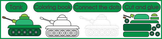 Games for children 3 in 1. Coloring book, connect the dots, cut royalty free illustration