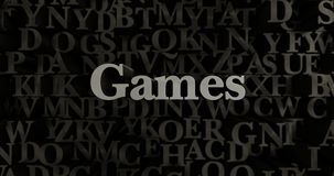 Games - 3D rendered metallic typeset headline illustration Stock Photography