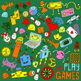 Games doodle set. Color Vector illustration. Stock Image