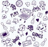 Games. Doodle set. School notebook. Vector Illustration Royalty Free Stock Photo