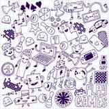 Games doodle set. School notebook. Stock Image