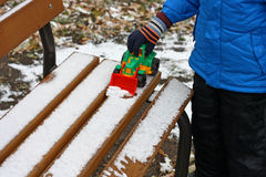 Games with the first snow. Royalty Free Stock Photos