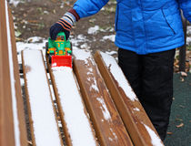 Games with the first snow. Stock Photography