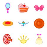 Games for girls icons set, cartoon style Stock Images