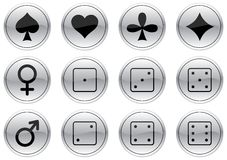 Games icons set. Gray - black palette. Vector illustration Royalty Free Stock Image