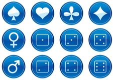 Games icons set. White - dark blue palette. Vector illustration Royalty Free Stock Images