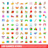 100 games icons set, cartoon style Royalty Free Stock Image