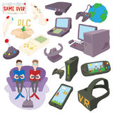 Games icons set, cartoon style. Games icons set in cartoon style isolated on white background Stock Photos