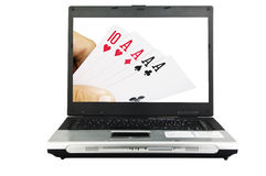 Games on line. Laptop with background on the screen Stock Images