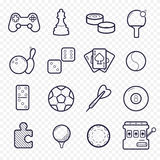Games linear icons. Gambling, sport game line icons. Royalty Free Stock Image