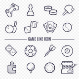 Games linear icons. Logic, gambling, sports thin line icons. Stock Images