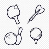 Games linear icons. Ping-pong, golf, bowling, darts leisure activities. Gambling, sport game line icon. Games linear icons. Ping-pong, golf, bowling, darts Stock Photos