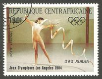 Games Los Angeles, Girls competition. Central African Republic - stamp printed 1984, Multicolor Air Mail issue, Topic Gymnastics, Series 1984 Olympic Games Los Royalty Free Stock Photo