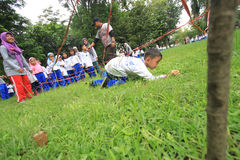 Games Obstacle. Some children are playing hurdles in Solo, Java, Indonesia. The game is to train the child's motor sensitivity to be more responsive in receiving Royalty Free Stock Image