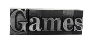 'games' in old metal type Stock Image