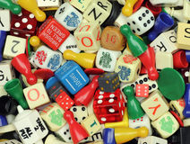 Games Pieces. Collection of board game pieces and dice Stock Images