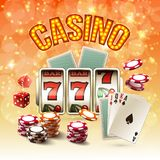 Games Realistic Bright Composition. With glow and  objects on the casino theme vector illustration Stock Photo