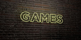 GAMES -Realistic Neon Sign on Brick Wall background - 3D rendered royalty free stock image Stock Photos