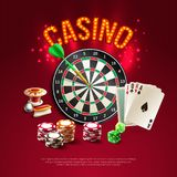 Games Realistic Poster. With big bright and red headline on dark stylish background with card dart dice and roulette vector illustration vector illustration