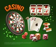 Games Realistic Stylish Composition. With casino headline and different games attributes isolated and colored vector illustration Stock Image