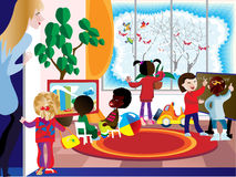 Games Room. A group of children engaged in the playroom of the Stock Images