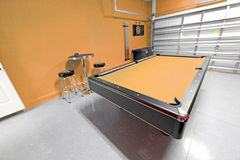 Games Room. A Games Room with Pool Table in a Garage Stock Photos