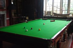 Games Room - Snooker Table Stock Photo