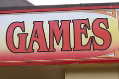 Games sign. Sign of a place or an a venue, amusement arcade, or video arcade where people play arcade games as video games, pinball machines, electro-mechanical Stock Images