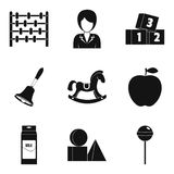 Games with sister icons set, simple style Royalty Free Stock Photography