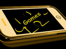 Games Smartphone Shows Internet Gaming. Games Smartphone Showing Internet Gaming And Entertainment Stock Photography