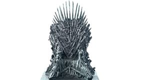 Games of Thrones HBO authorized replica of the Iron Throne. Adelaide, South Adelaide - August 22, 2018: Games of Thrones HBO authorized replica of the Iron royalty free stock photography