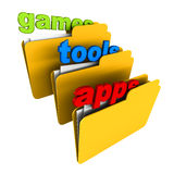 Games tools apps. Folders showing contents as games, tools or utilities and apps, applications or software, concept of software types available to download or Royalty Free Stock Photo