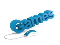 Games word with blue mouse Royalty Free Stock Photography