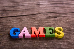 Games word made of wooden letters Stock Image